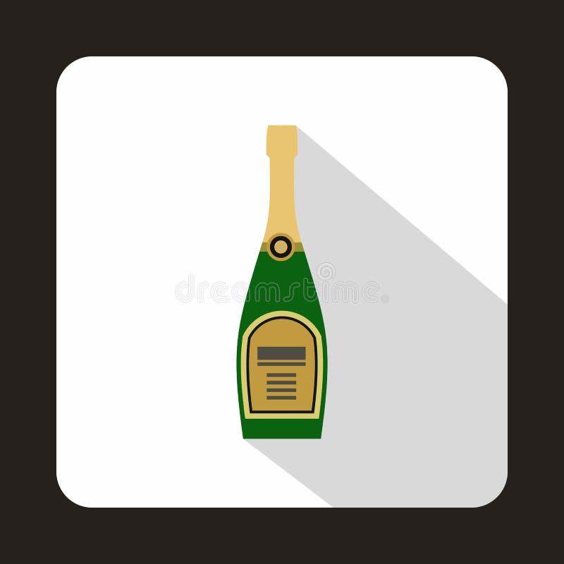 Icona della bottiglia di Champagne, stile piano illustrazione di stock
