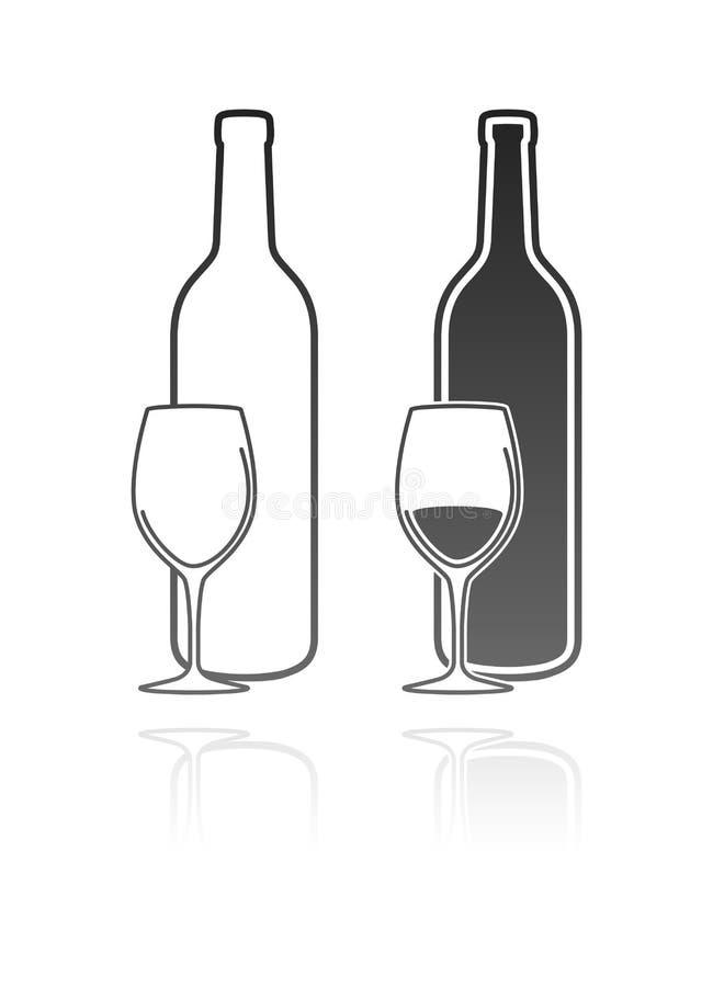 Icona della bottiglia e del bicchiere di vino illustrazione vettoriale