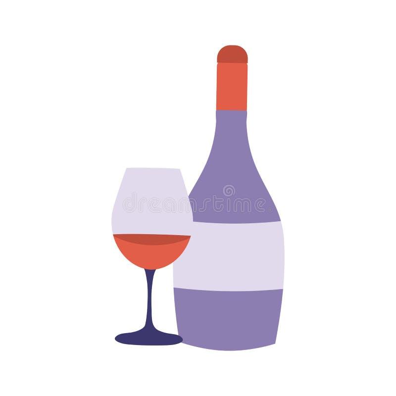 Icona della bottiglia e di vetro del vino rosso illustrazione vettoriale