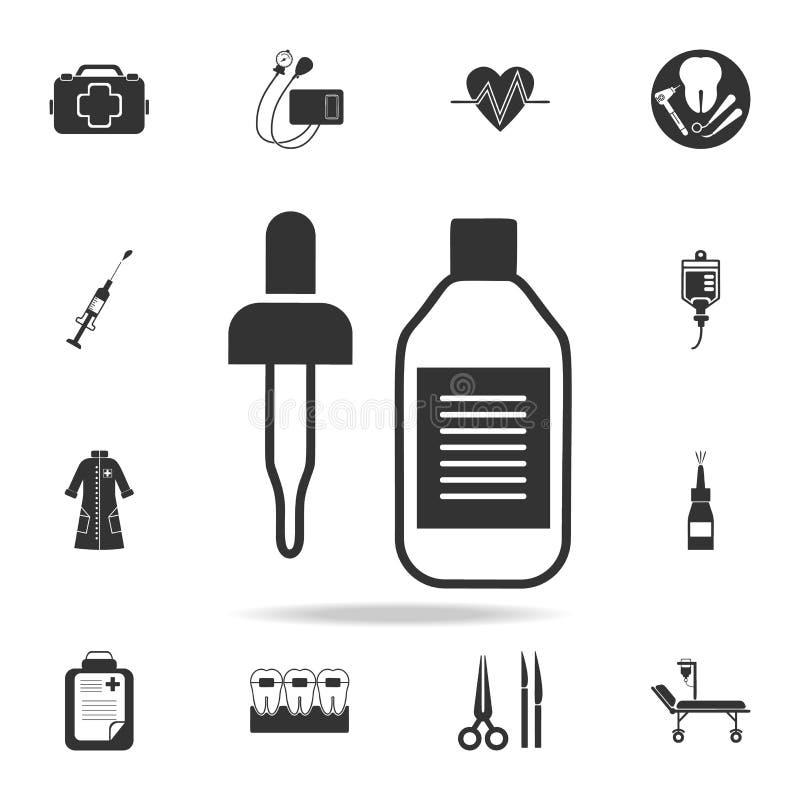 icona della bottiglia e della pipetta Insieme dettagliato dell'illustrazione dell'elemento della medicina Progettazione grafica d illustrazione vettoriale