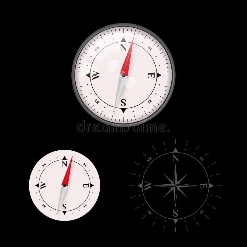 icona della bussola di vettore 3D messa con vetro e senza vetro, oggetto di navigazione della mappa illustrazione di stock