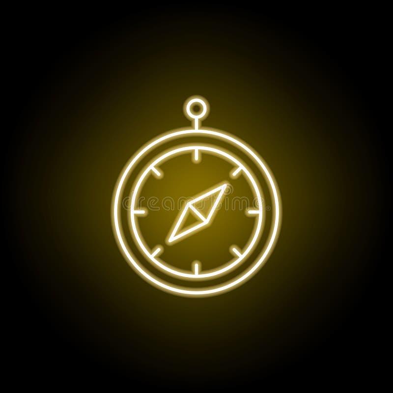 icona della bussola nello stile al neon Elemento dell'illustrazione di viaggio I segni ed i simboli possono essere usati per il w illustrazione di stock