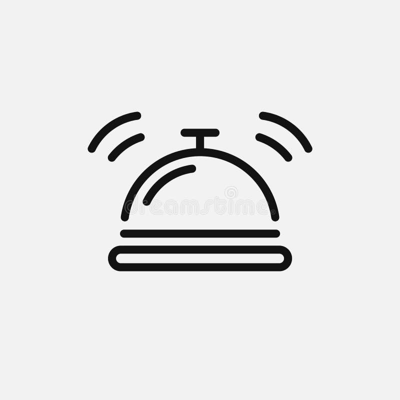 Icona della campana dell'hotel isolata su fondo bianco Illustrazione di vettore illustrazione di stock