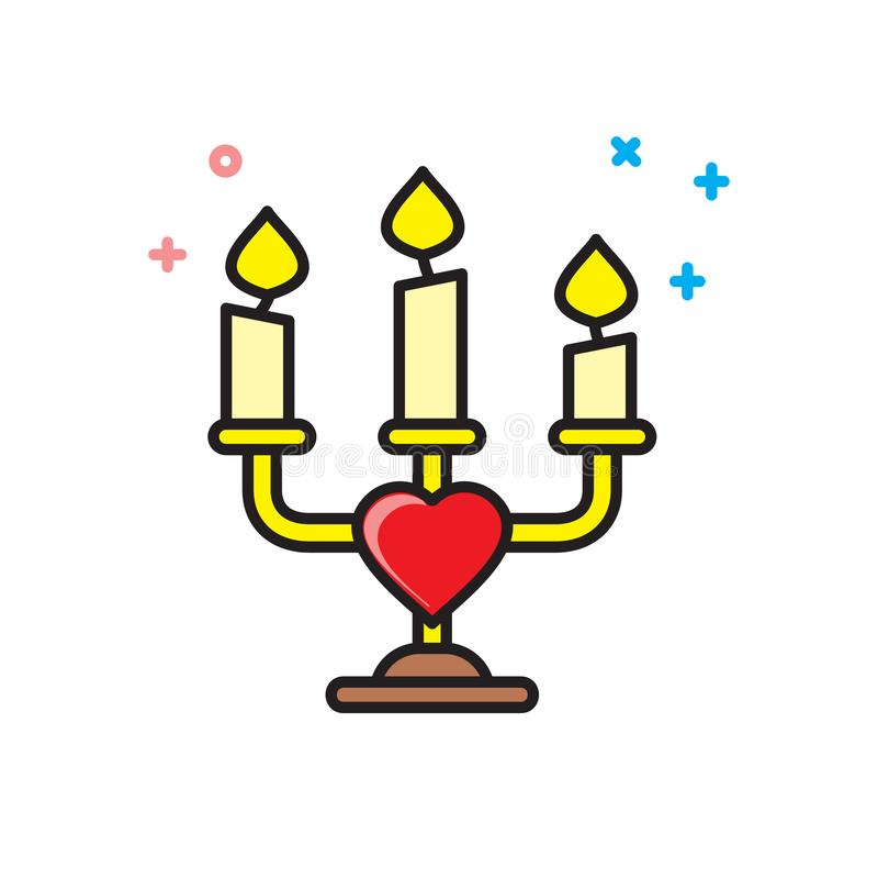Icona della candela di giorno di biglietti di S. Valentino su fondo bianco per il grafico ed il web design, segno semplice modern illustrazione vettoriale