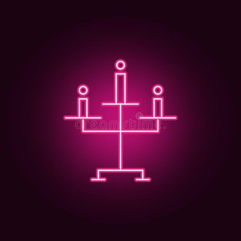 Icona della candela di Halloween Elementi di Halloween nelle icone al neon di stile E royalty illustrazione gratis