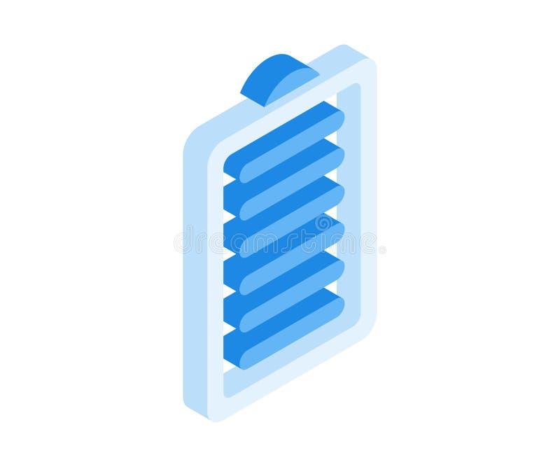 Icona della carica della batteria Illustrazione di vettore nello stile isometrico piano 3D illustrazione di stock