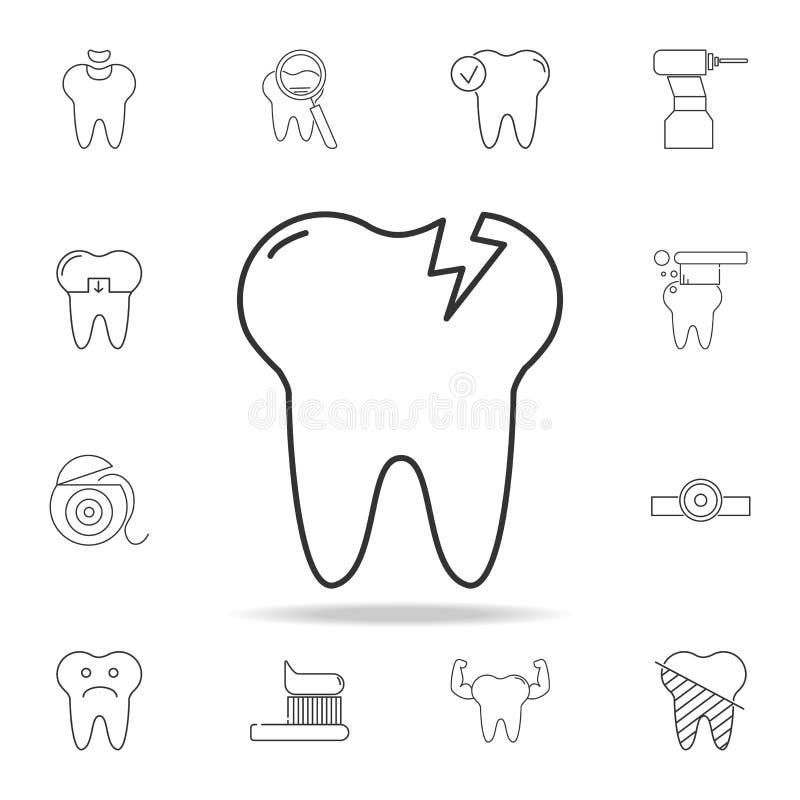 Icona della carie del dente Insieme dettagliato della linea dentaria icone del profilo Icona premio di progettazione grafica di q illustrazione vettoriale