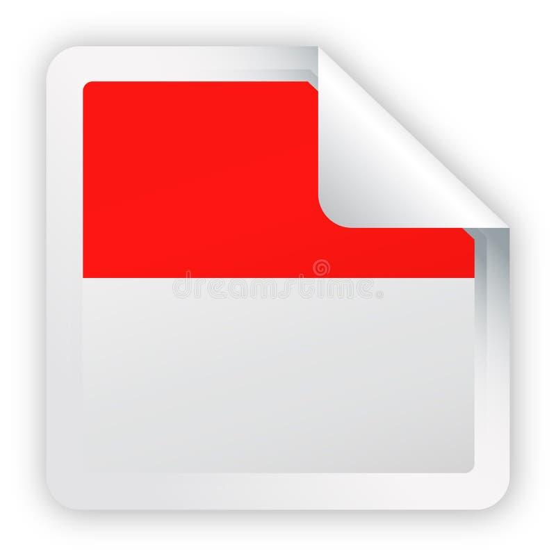 Icona della carta dell'angolo quadrato di vettore della bandiera dell'Indonesia illustrazione vettoriale