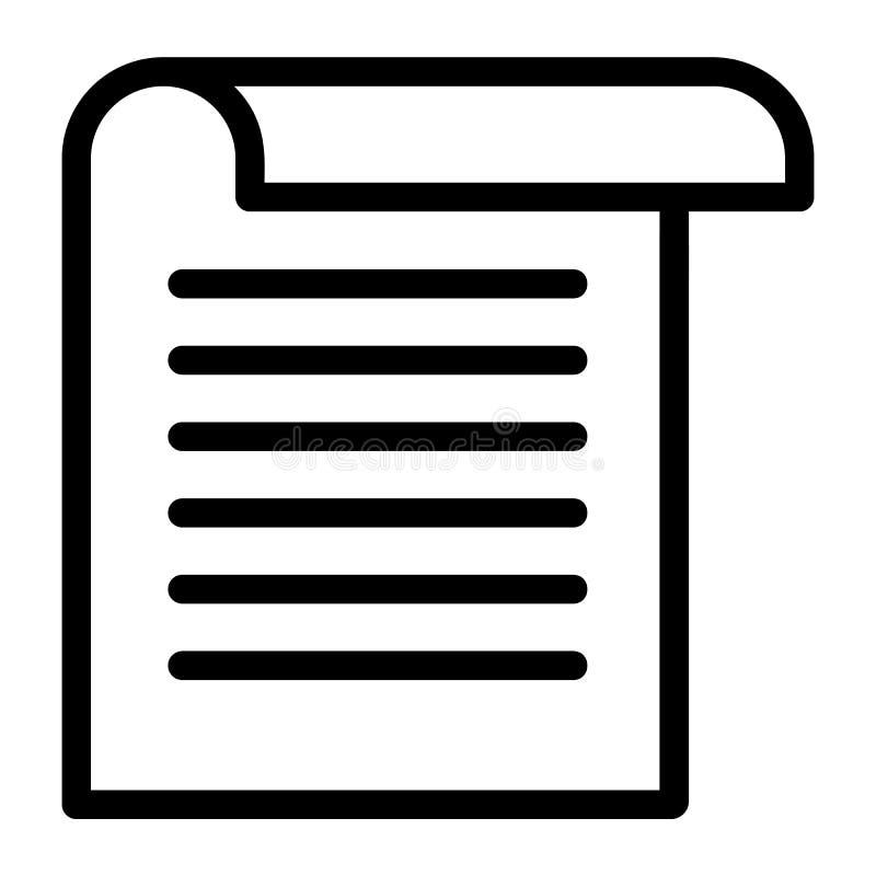 Icona della carta dell'ufficio, stile del profilo illustrazione di stock