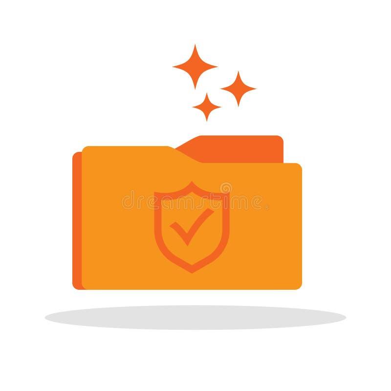 Icona della cartella documenti con il simbolo della guardia dello schermo illustrazione vettoriale