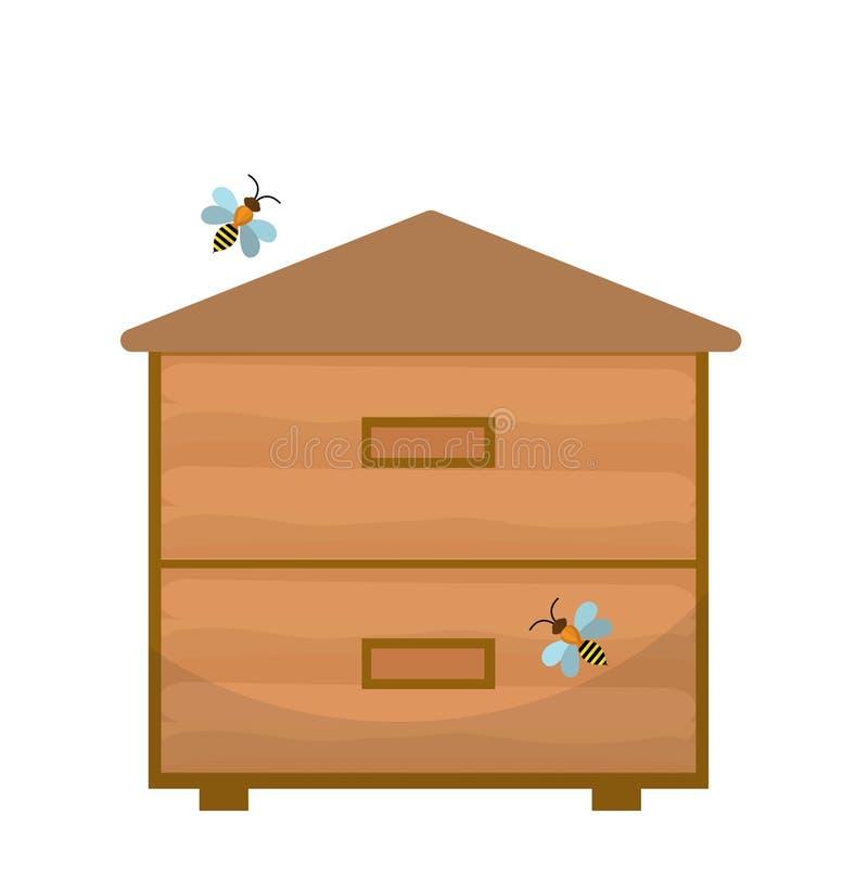 Icona della casa di ape, stile piano Arnia isolata su fondo bianco Illustrazione di vettore, clipart illustrazione di stock
