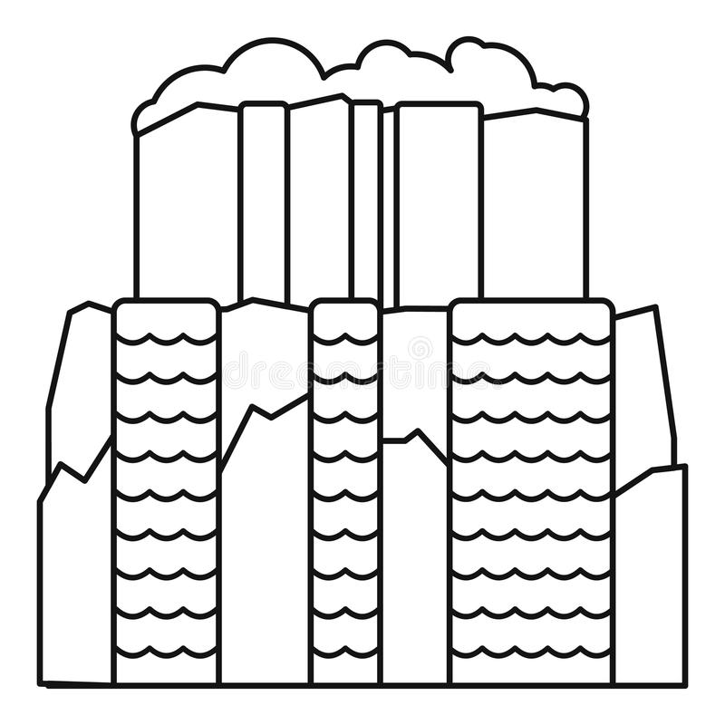 Icona della cascata di Iguazu, stile del profilo illustrazione vettoriale