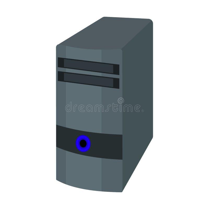 Icona della cassa del computer nello stile del fumetto isolata su fondo bianco Vettore con computer personale delle azione di sim illustrazione vettoriale