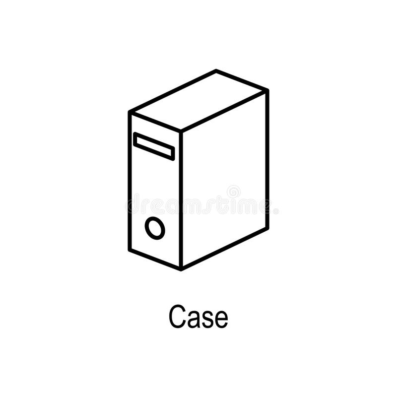 Icona della cassa del PC Elemento della parte del computer per i apps mobili di web e di concetto Linea sottile icona per progett illustrazione vettoriale