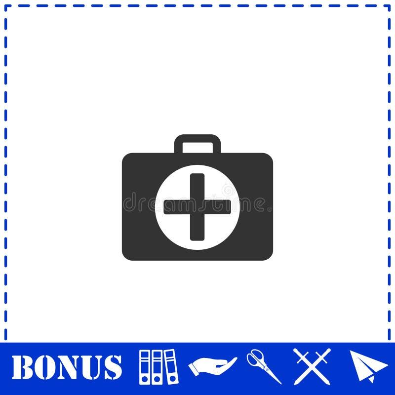 Icona della cassetta di pronto soccorso piana illustrazione vettoriale
