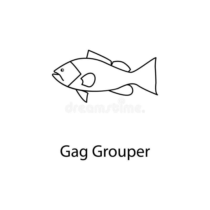 icona della cernia del bavaglio Elemento di vita marina per i apps mobili di web e di concetto La linea sottile icona della cerni illustrazione di stock