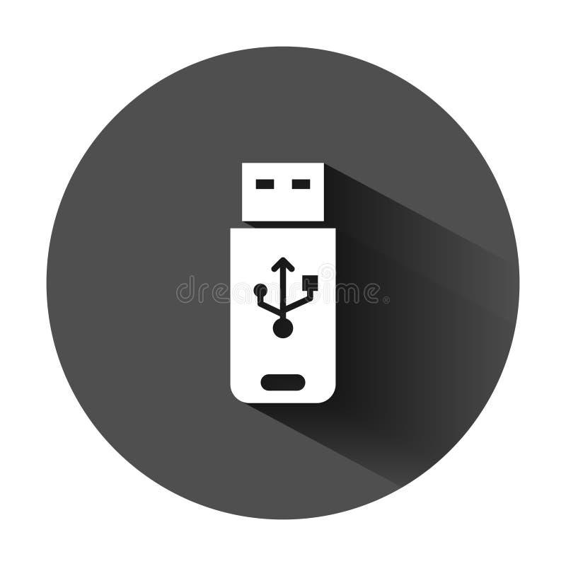 Icona della chiavetta USB nello stile piano Illustrazione di vettore del disco istantaneo su fondo rotondo nero con ombra lunga A illustrazione di stock