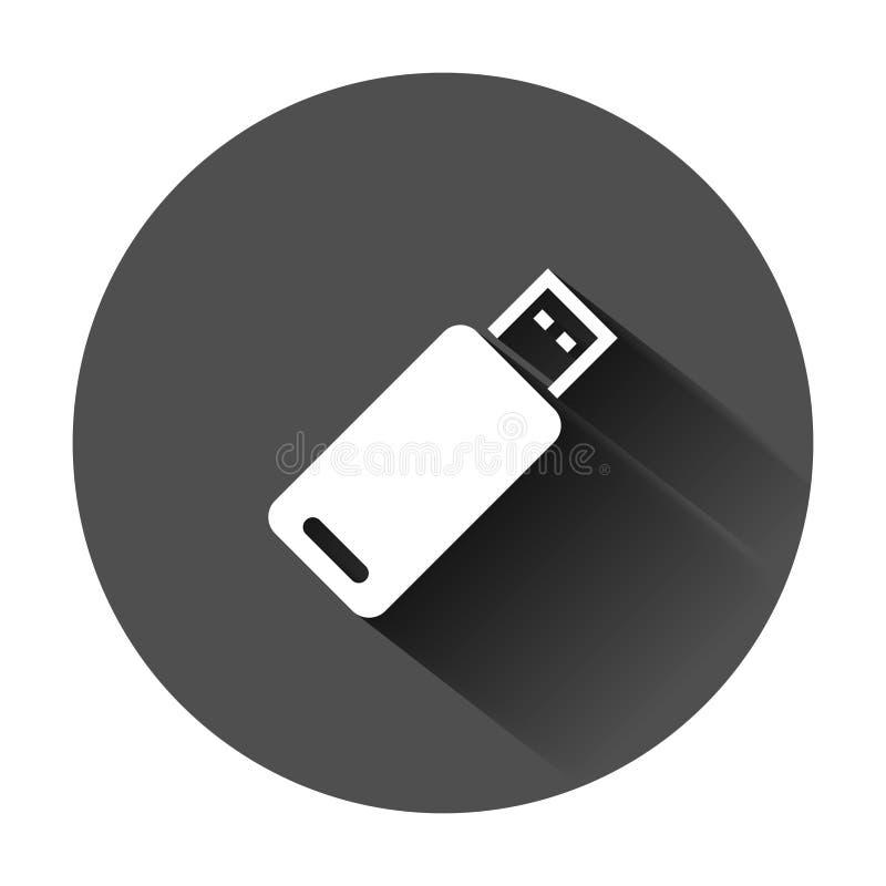 Icona della chiavetta USB nello stile piano Illustrazione di vettore del disco istantaneo su fondo rotondo nero con ombra lunga A illustrazione vettoriale