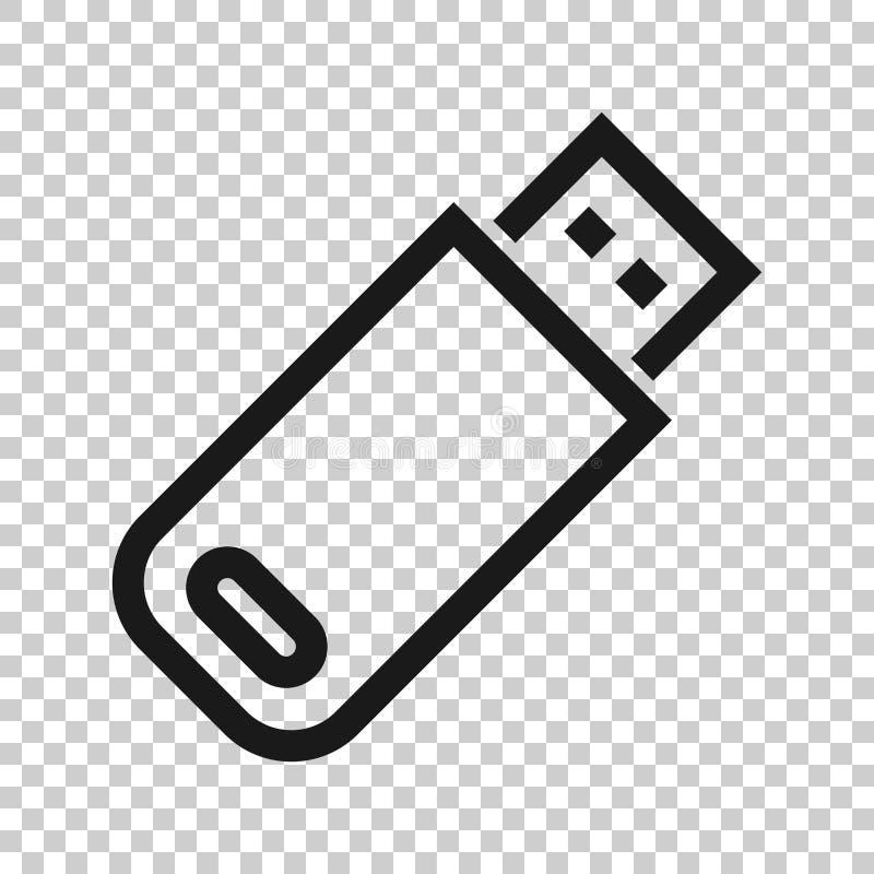 Icona della chiavetta USB nello stile trasparente Illustrazione di vettore del disco istantaneo su fondo isolato Concetto di affa illustrazione vettoriale