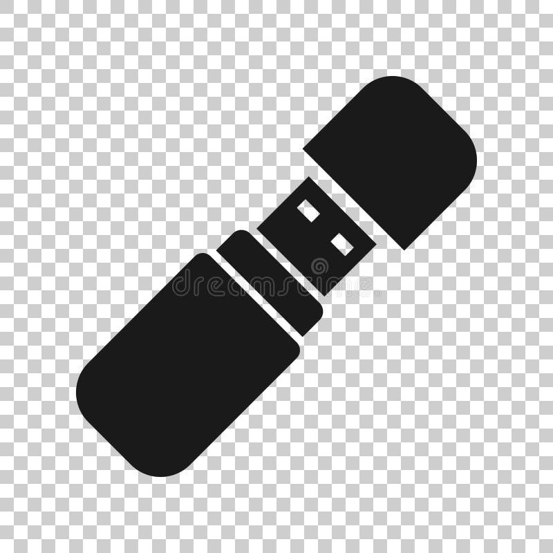 Icona della chiavetta USB nello stile trasparente Illustrazione di vettore del disco istantaneo su fondo isolato Concetto di affa royalty illustrazione gratis