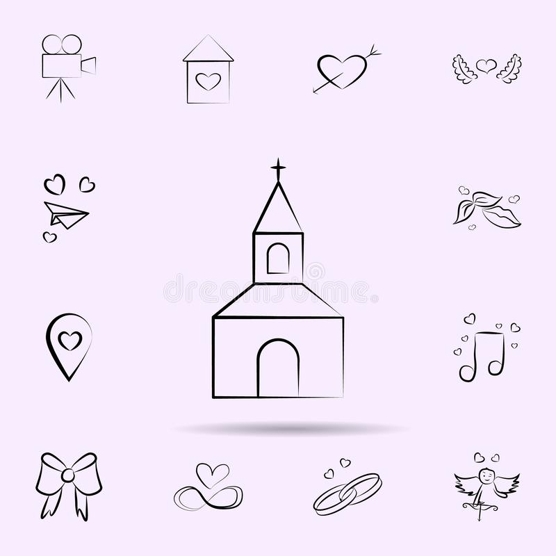 Icona della chiesa Insieme universale di nozze per progettazione del sito Web e sviluppo, sviluppo del app illustrazione vettoriale