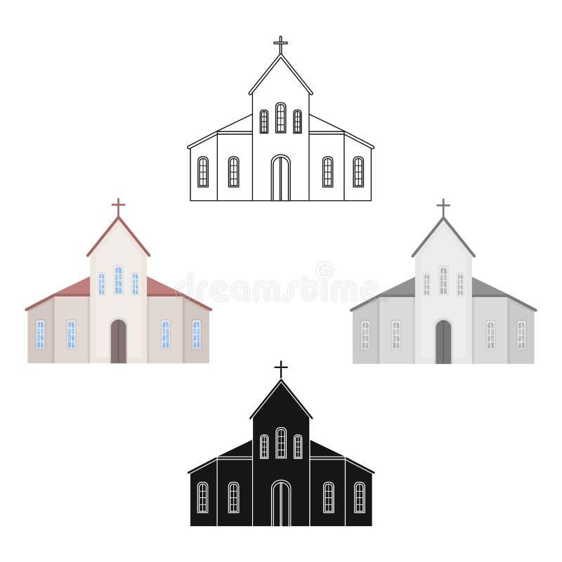 Icona della chiesa nello stile del fumetto isolata su fondo bianco Illustrazione di vettore delle azione di simbolo di cerimonia  royalty illustrazione gratis