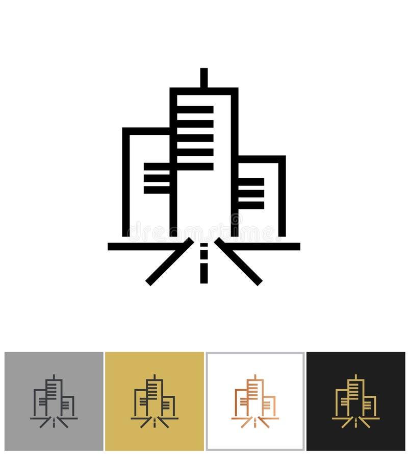 Icona della città, segno vivente urbano o simbolo metropolitano della residenza illustrazione vettoriale