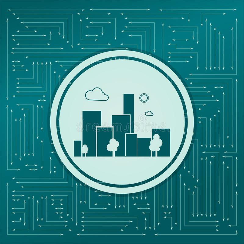 Icona della città su un fondo verde, con le frecce nelle direzioni differenti Compare sul bordo elettronico royalty illustrazione gratis