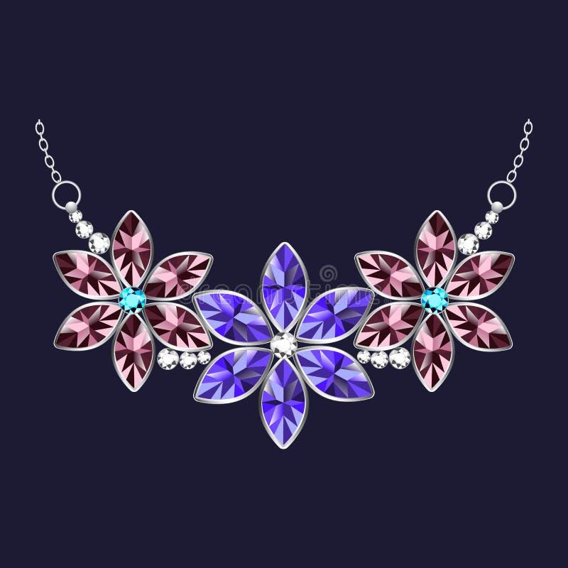 Icona della collana dei gioielli del fiore, stile realistico illustrazione vettoriale