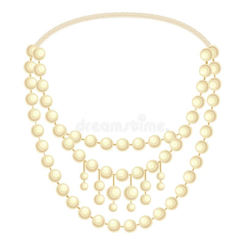 Icona della collana della perla di modo, stile del fumetto illustrazione vettoriale