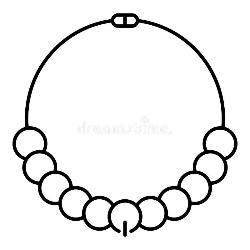 Icona della collana della perla di modo, stile del profilo illustrazione vettoriale