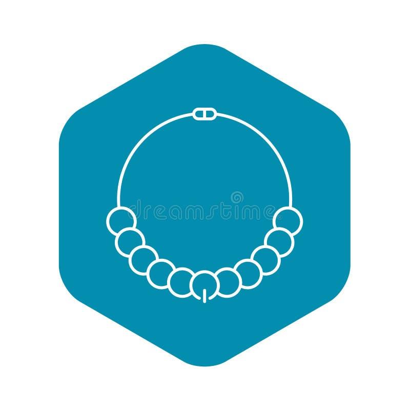 Icona della collana della perla di modo, stile del profilo illustrazione di stock