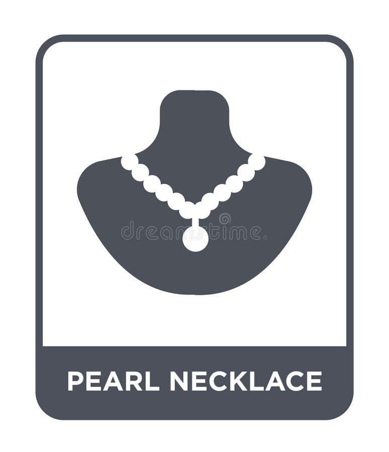 icona della collana della perla nello stile d'avanguardia di progettazione icona della collana della perla isolata su fondo bianc illustrazione di stock