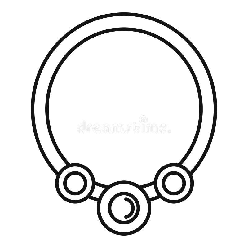 Icona della collana della perla, stile del profilo royalty illustrazione gratis