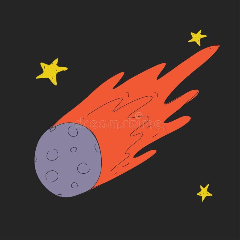 Icona della cometa dello spazio del fumetto con le stelle per i bambini Esplorazione di viaggio di avventura intorno all'universo illustrazione vettoriale