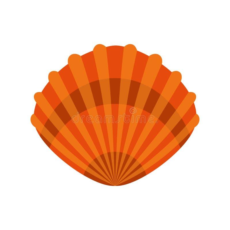 Icona della conchiglia, stile piano illustrazione vettoriale