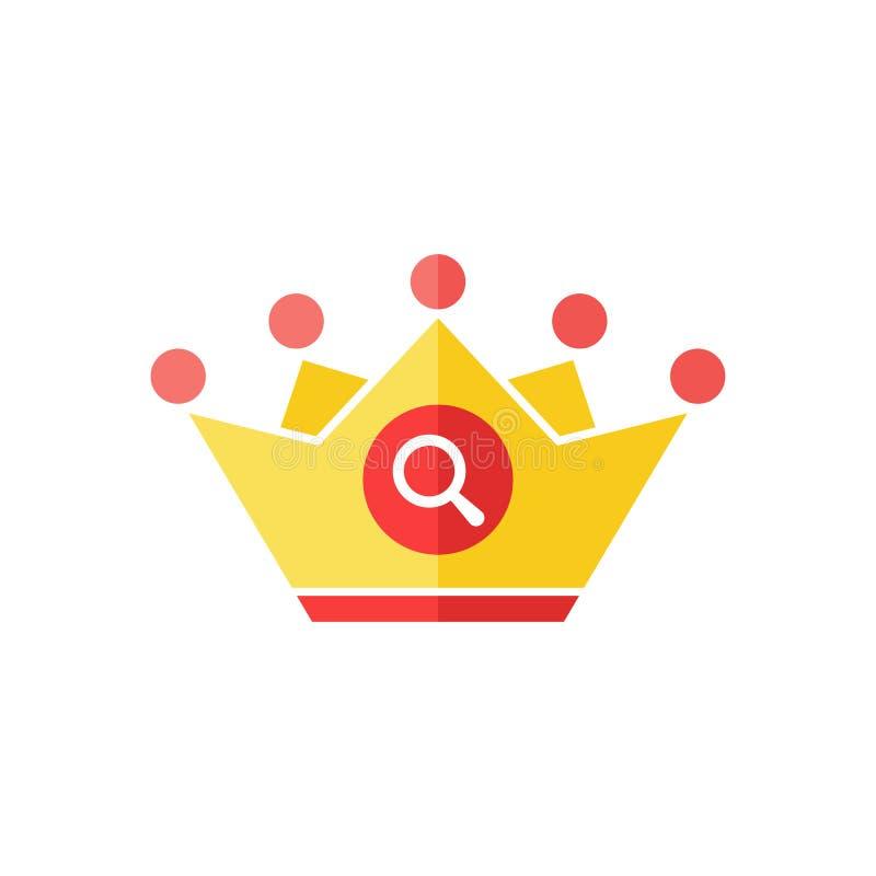 Icona della corona con il segno di ricerca L'icona dell'autorità ed esplora, trova, ispeziona il simbolo illustrazione di stock