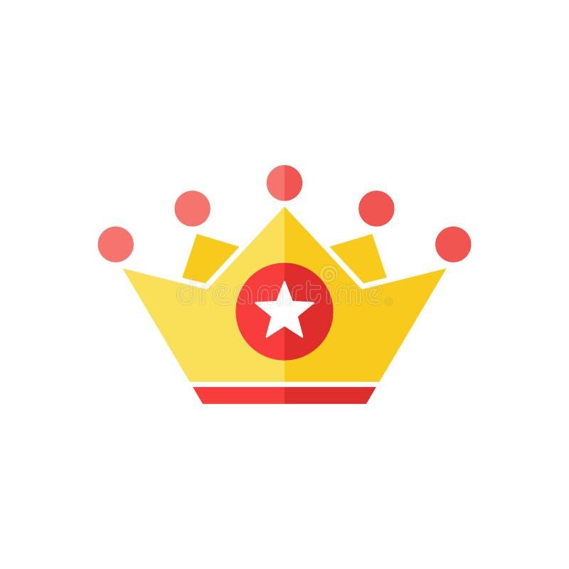Icona della corona con il segno della stella Icona di autorità e migliore, simbolo favorito e di valutazione illustrazione vettoriale