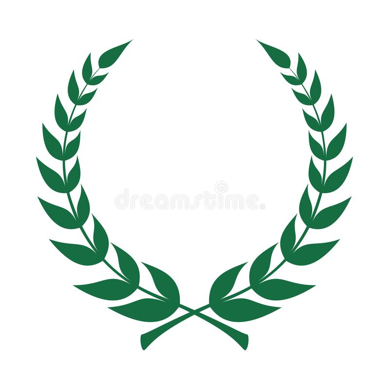 Icona della corona dell'alloro Emblema fatto dei rami dell'alloro illustrazione di stock