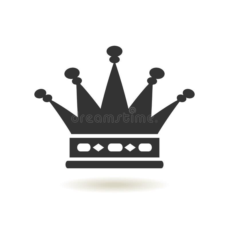 Icona della corona nello stile piano d'avanguardia Autorità della monarchia e simboli reali Icone antiche d'annata monocromatiche royalty illustrazione gratis