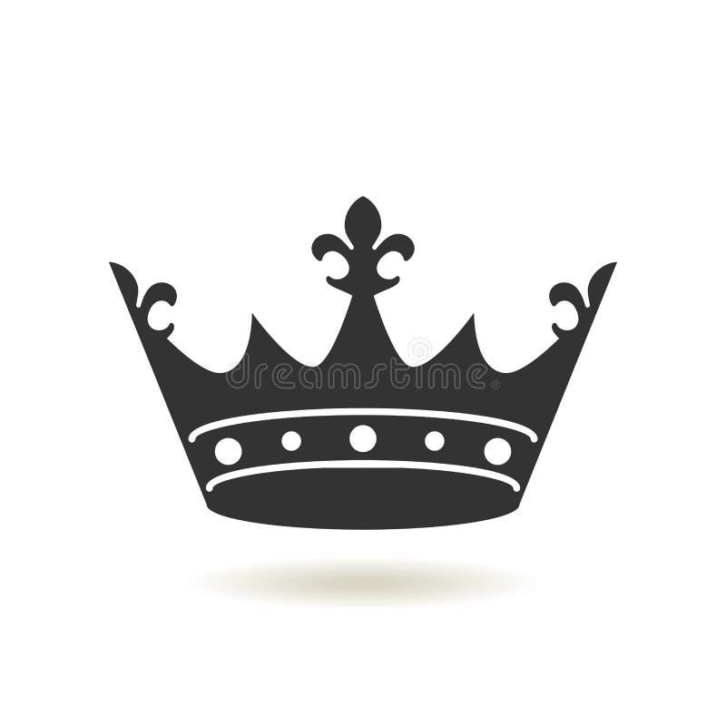 Icona della corona nello stile piano d'avanguardia Autorità della monarchia e simboli reali Icone antiche d'annata monocromatiche illustrazione di stock