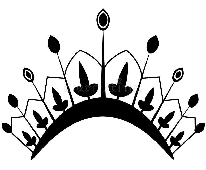 Icona della corona nello stile piano d'avanguardia Autorit? della monarchia e simboli reali Icone antiche d'annata monocromatiche illustrazione vettoriale