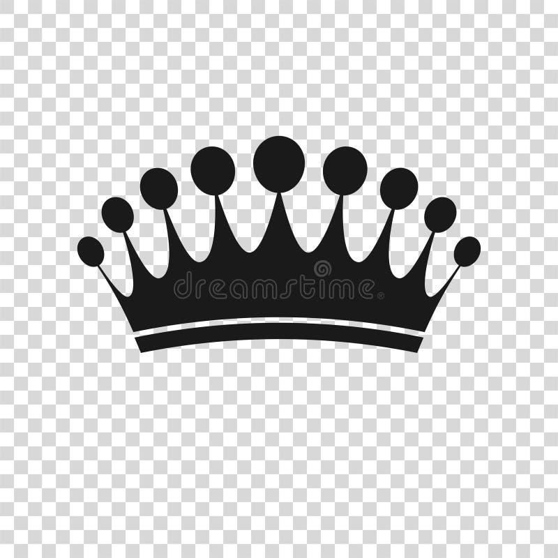 Icona della corona nello stile piano d'avanguardia isolata Simbolo reale per la vostra progettazione del sito Web, logo, app, UI  royalty illustrazione gratis