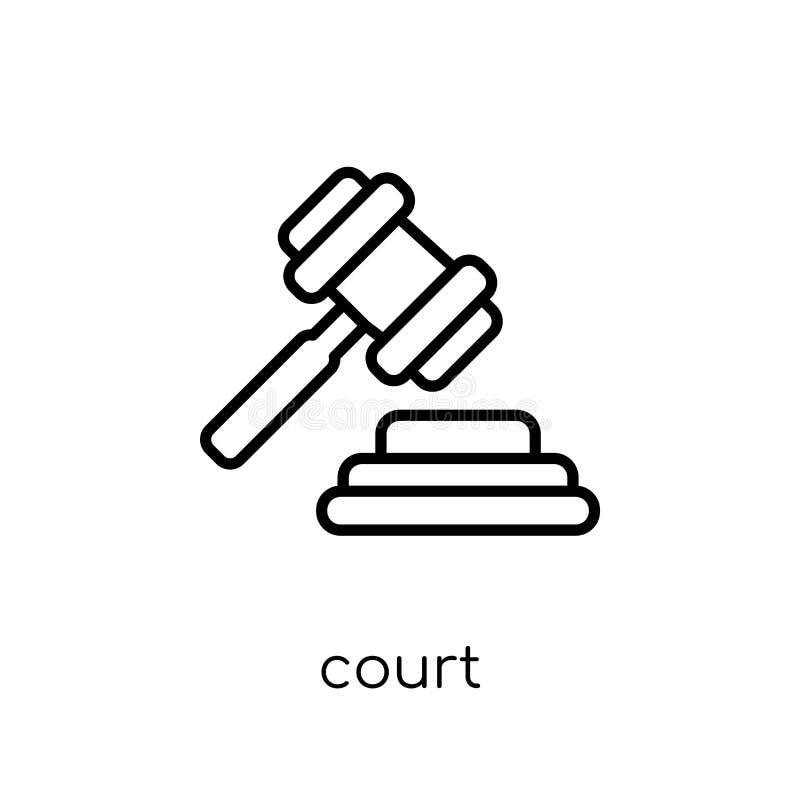 Icona della corte Icona lineare piana moderna d'avanguardia della corte di vettore su bianco illustrazione di stock
