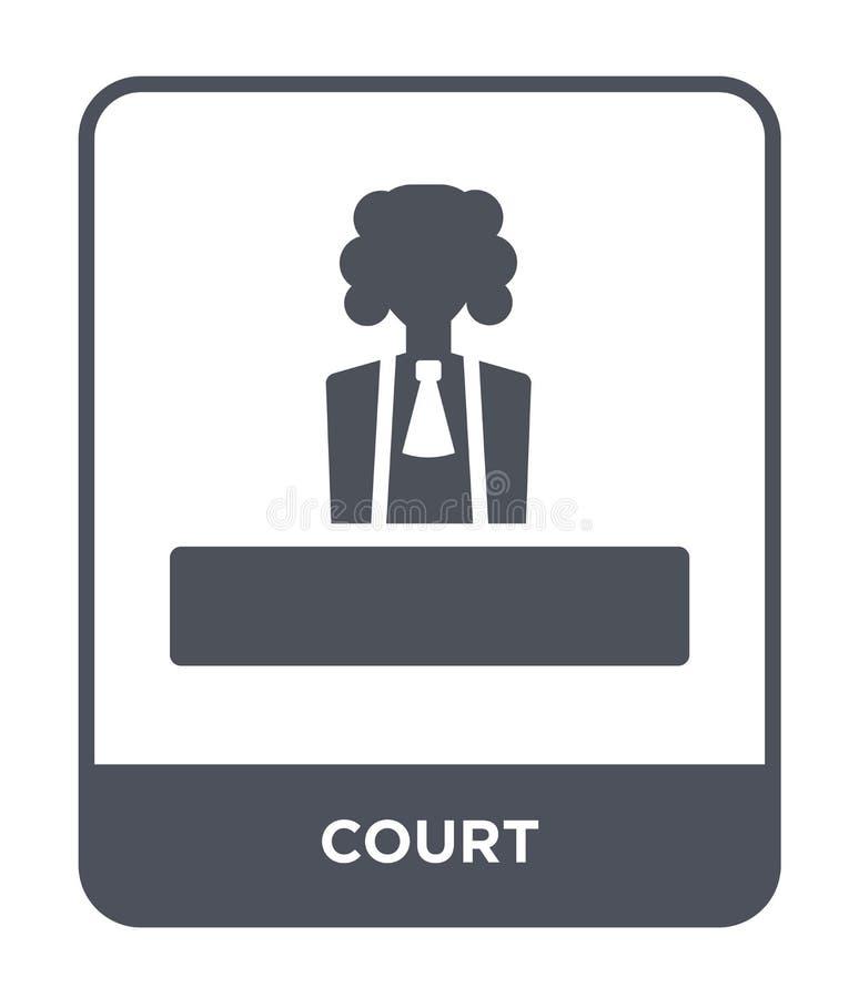 icona della corte nello stile d'avanguardia di progettazione icona della corte isolata su fondo bianco simbolo piano semplice e m illustrazione di stock