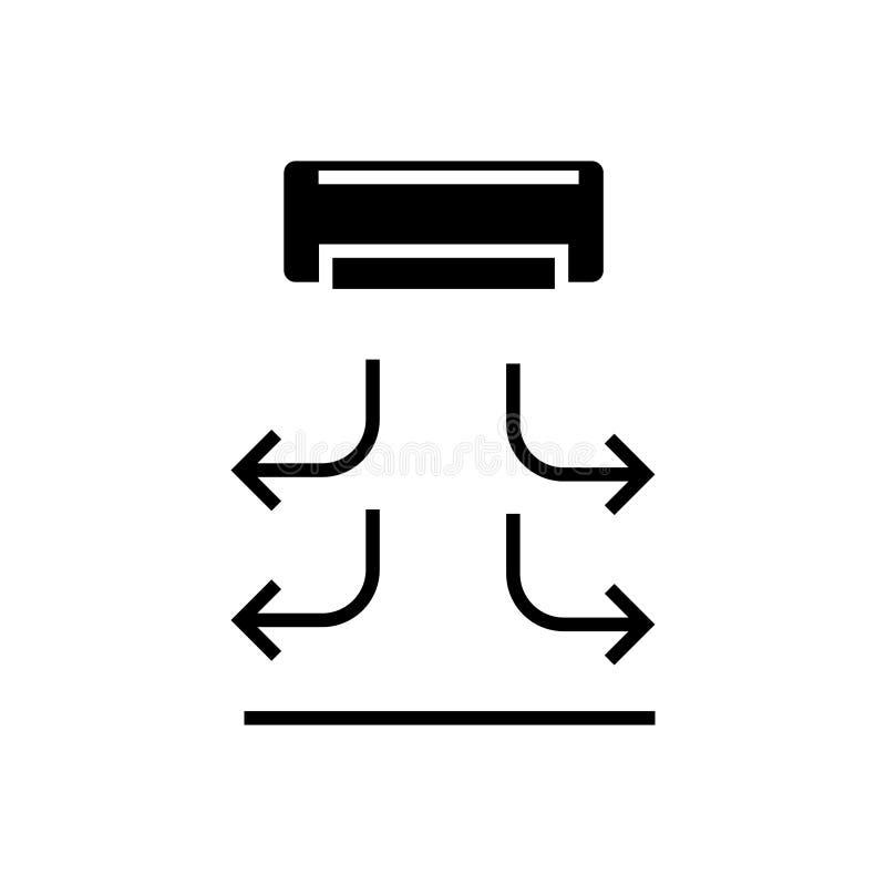 Icona della cortina d'aria, illustrazione di vettore, segno nero su fondo isolato illustrazione di stock