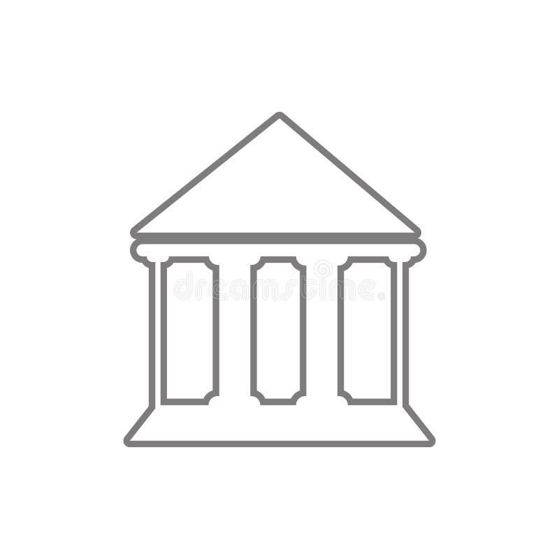 Icona della costruzione della corte Elemento di sicurezza cyber per il concetto e l'icona mobili dei apps di web Linea sottile ic illustrazione di stock