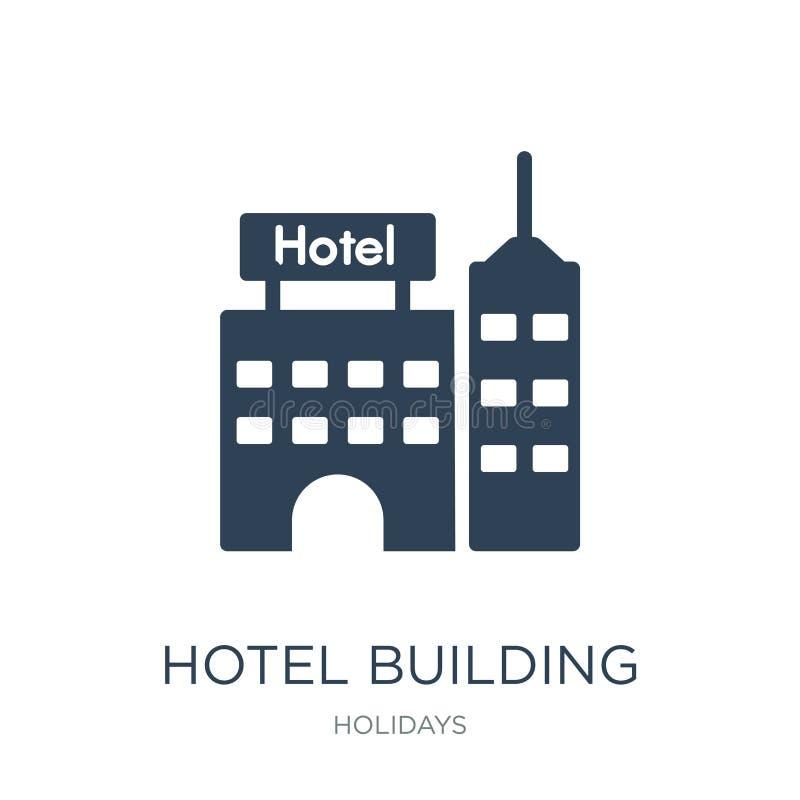 icona della costruzione dell'hotel nello stile d'avanguardia di progettazione icona della costruzione dell'hotel isolata su fondo royalty illustrazione gratis