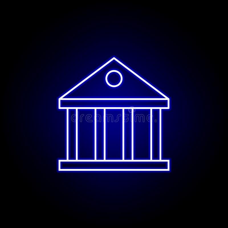 icona della costruzione di banca nello stile al neon Elemento dell'illustrazione di finanza I segni e l'icona di simboli possono  illustrazione di stock