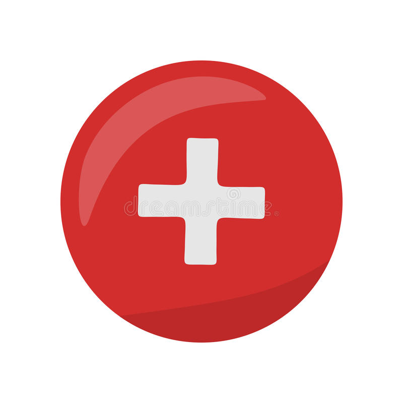 Icona della croce rossa sul bottone Primo segno dell'aiuto medico illustrazione di stock